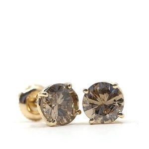 2.45 Carat Diamond Cognac 18k Gold Earrings